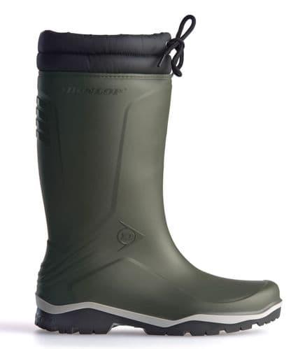 Dunlop Blizzard Warm Fleece Linned Green Padded Collar Wellington Boots